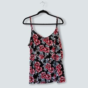 Torrid Black Floral Swing Camisole Tank Top Size 3